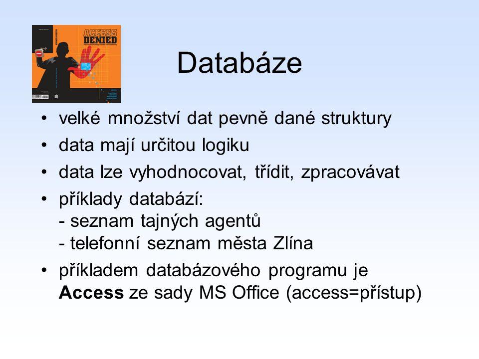 Databáze velké množství dat pevně dané struktury