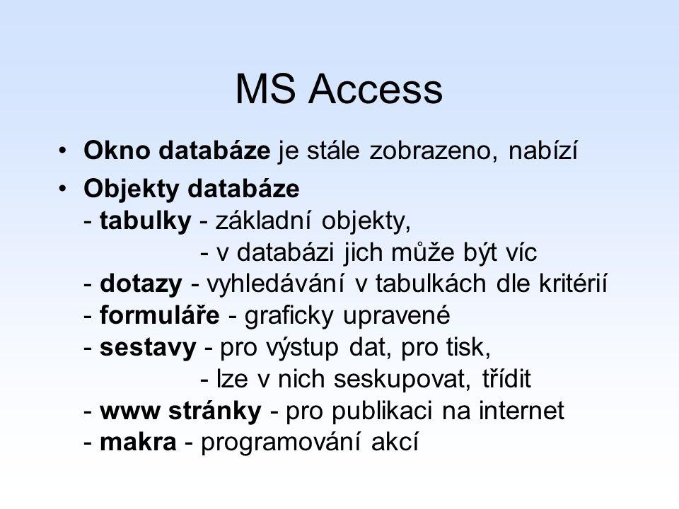 MS Access Okno databáze je stále zobrazeno, nabízí
