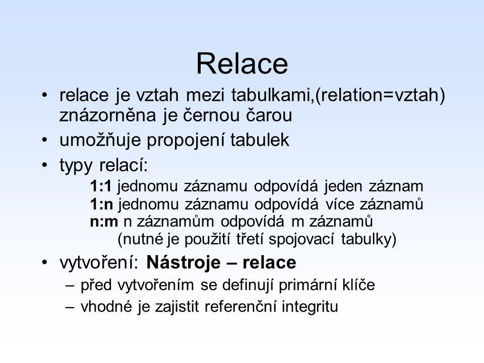 Relace relace je vztah mezi tabulkami,(relation=vztah) znázorněna je černou čarou. umožňuje propojení tabulek.