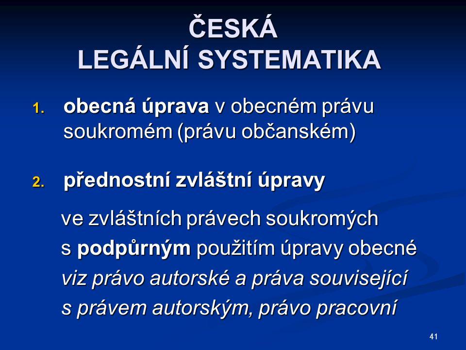 ČESKÁ LEGÁLNÍ SYSTEMATIKA