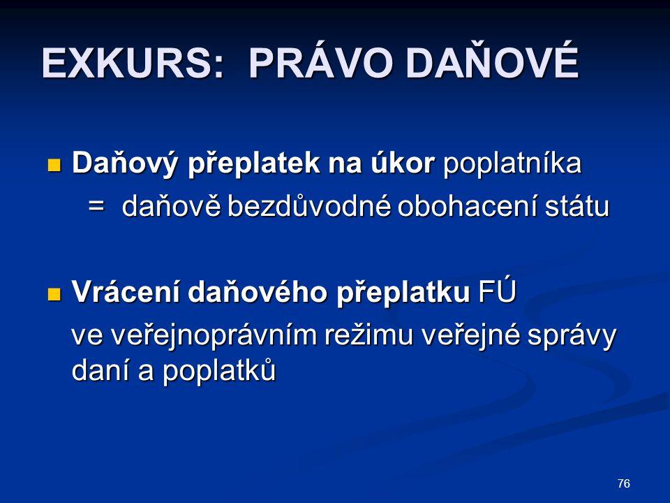 EXKURS: PRÁVO DAŇOVÉ Daňový přeplatek na úkor poplatníka