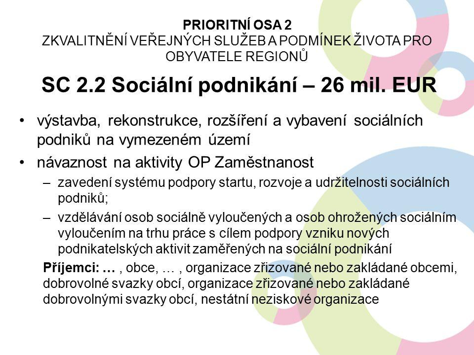 SC 2.2 Sociální podnikání – 26 mil. EUR