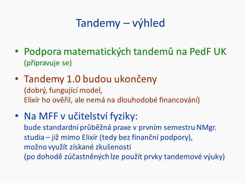 Tandemy – výhled Podpora matematických tandemů na PedF UK (připravuje se)
