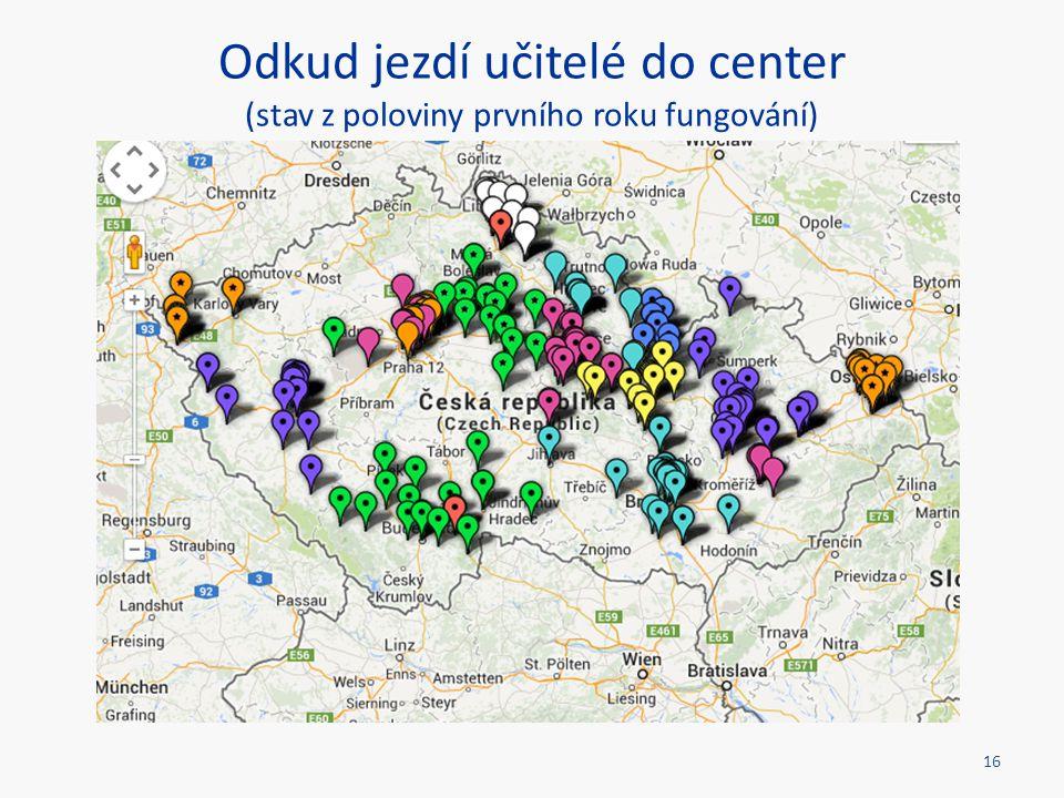 Odkud jezdí učitelé do center (stav z poloviny prvního roku fungování)