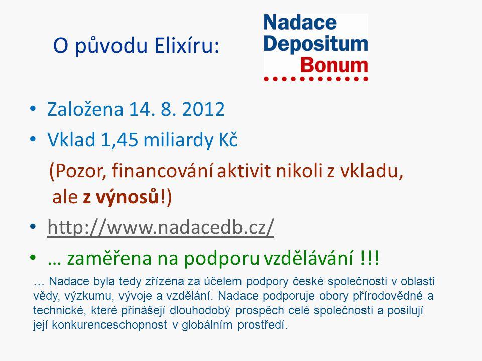 O původu Elixíru: Založena 14. 8. 2012 Vklad 1,45 miliardy Kč