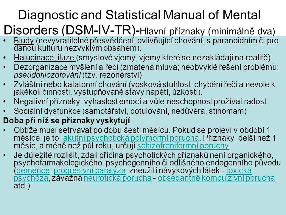 Diagnostic and Statistical Manual of Mental Disorders (DSM-IV-TR)-Hlavní příznaky (minimálně dva)