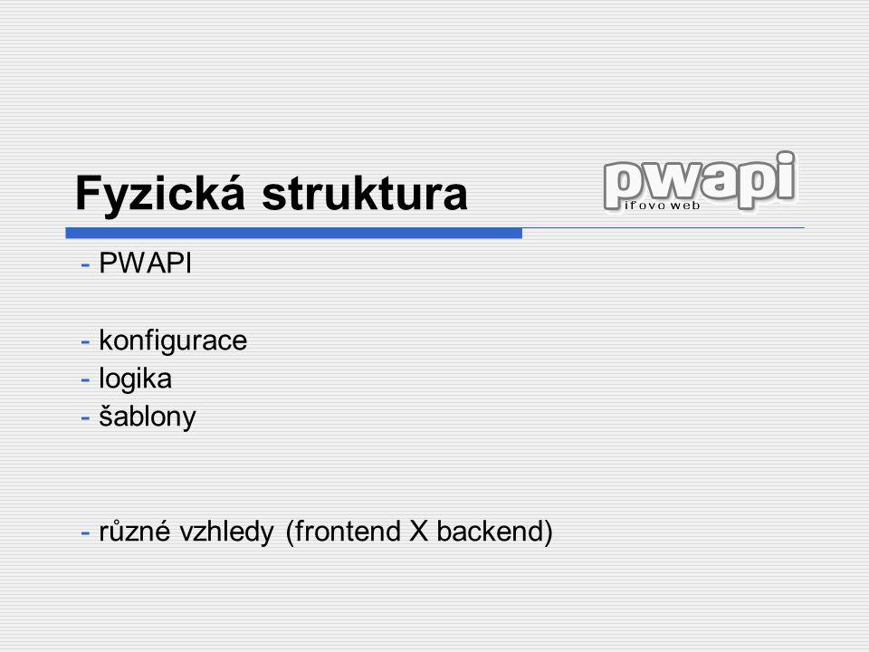 PWAPI konfigurace logika šablony různé vzhledy (frontend X backend)
