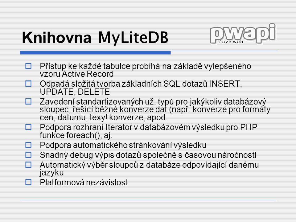 Knihovna MyLiteDB Přístup ke každé tabulce probíhá na základě vylepšeného vzoru Active Record.