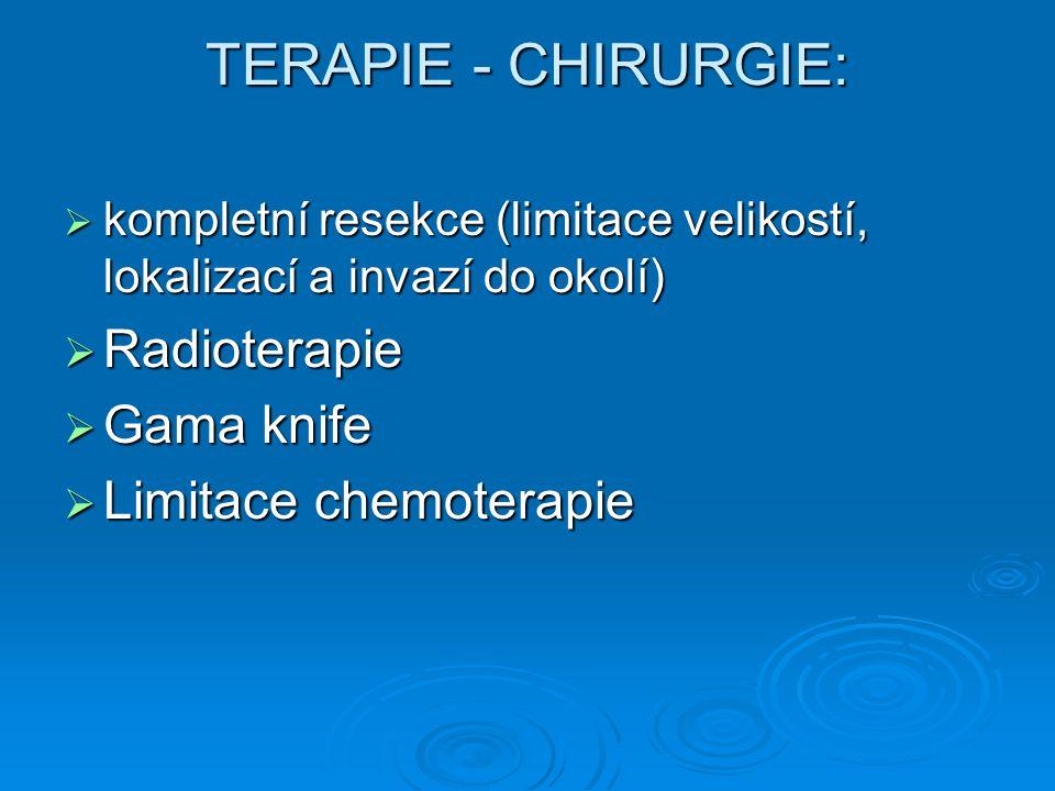 TERAPIE - CHIRURGIE: Radioterapie Gama knife Limitace chemoterapie