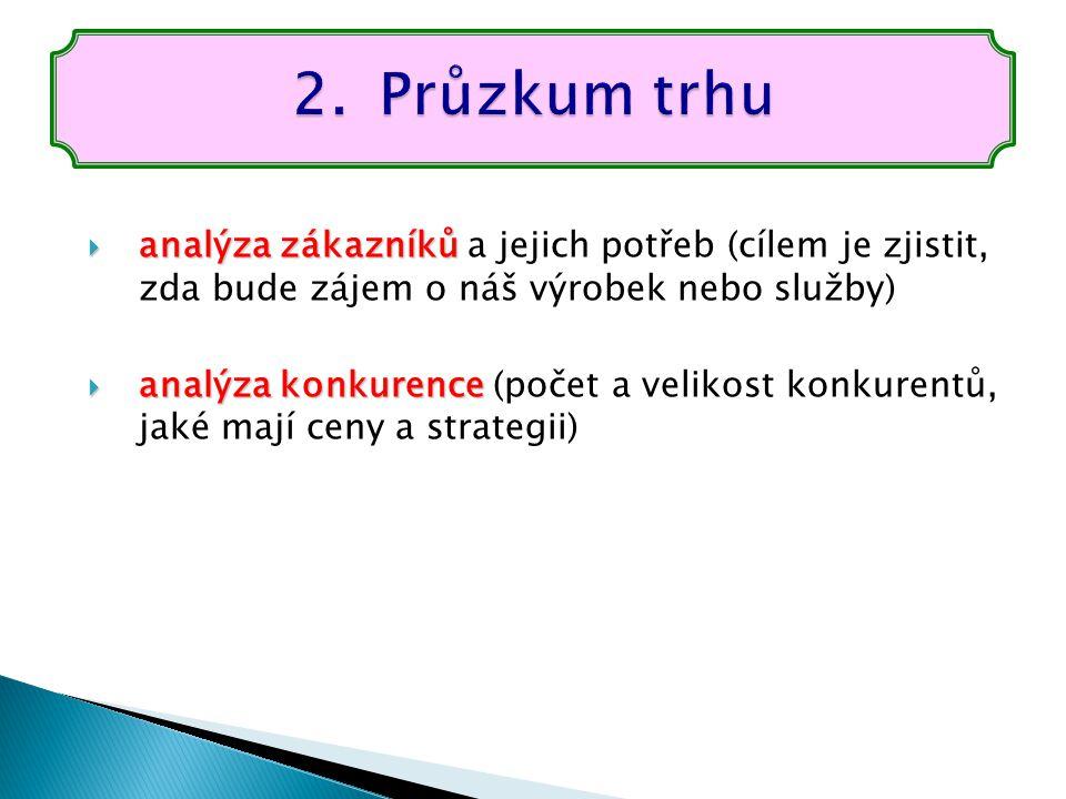 Průzkum trhu analýza zákazníků a jejich potřeb (cílem je zjistit, zda bude zájem o náš výrobek nebo služby)