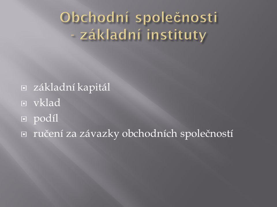 Obchodní společnosti - základní instituty