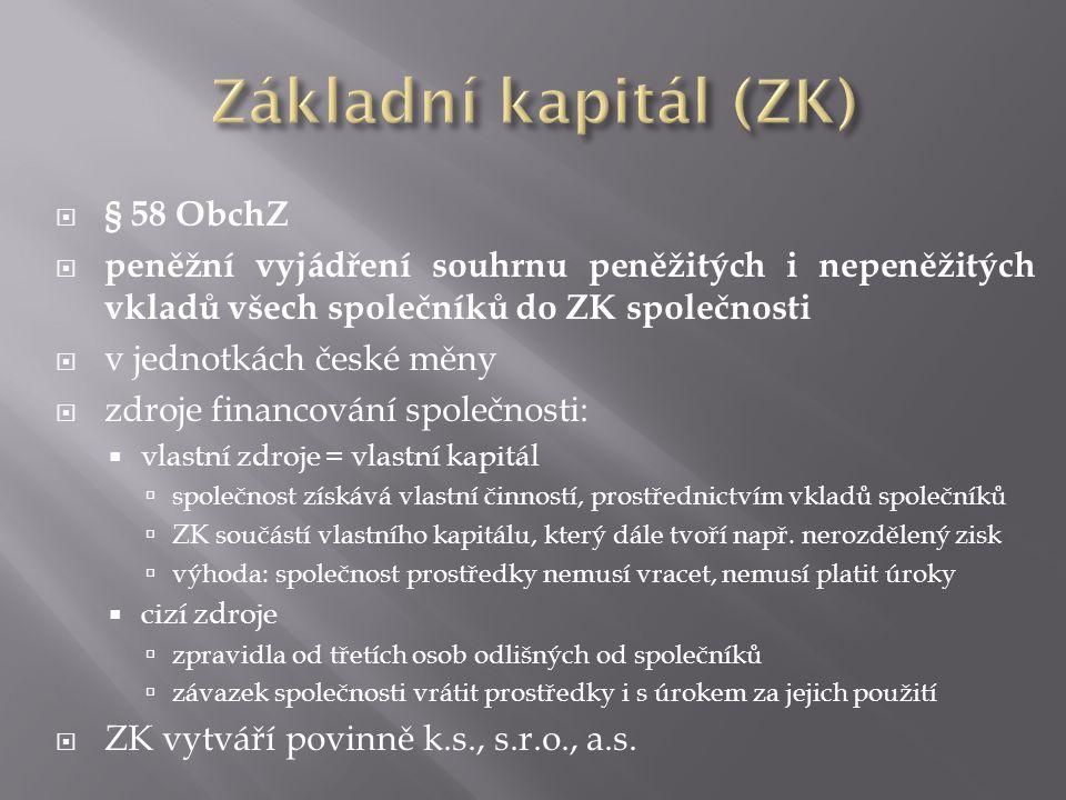 Základní kapitál (ZK) § 58 ObchZ