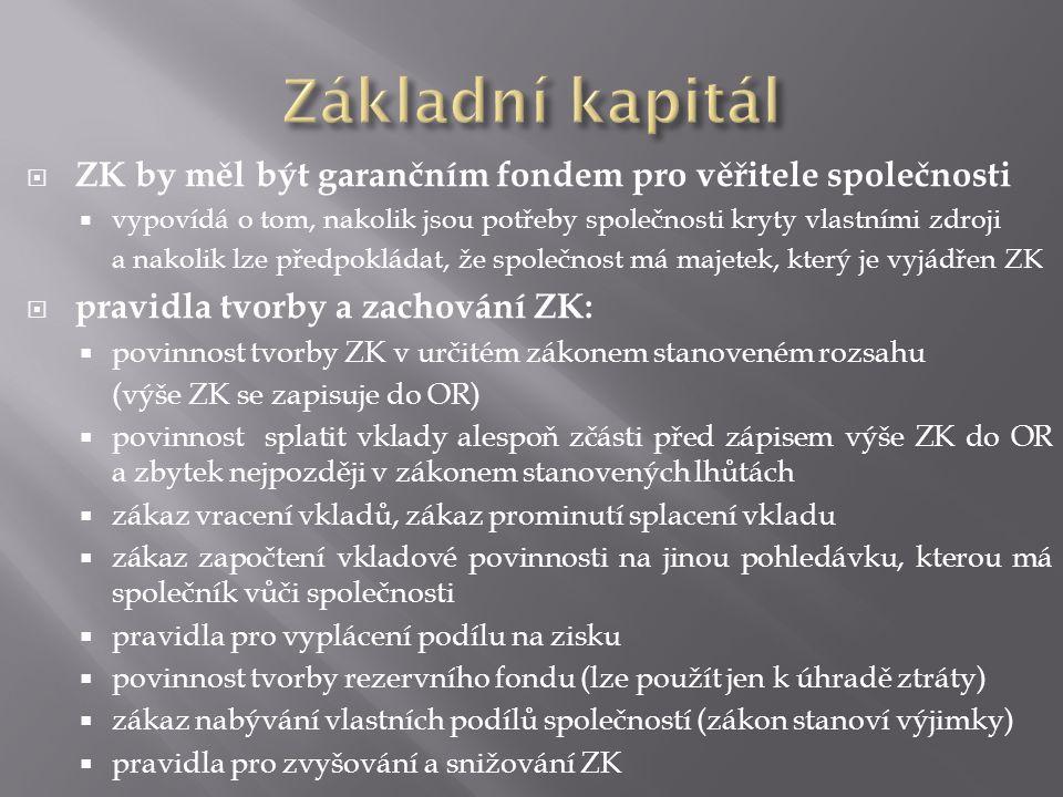 Základní kapitál ZK by měl být garančním fondem pro věřitele společnosti. vypovídá o tom, nakolik jsou potřeby společnosti kryty vlastními zdroji.