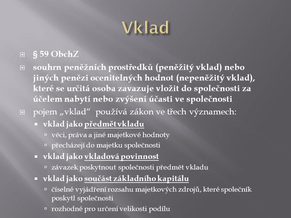 Vklad § 59 ObchZ.