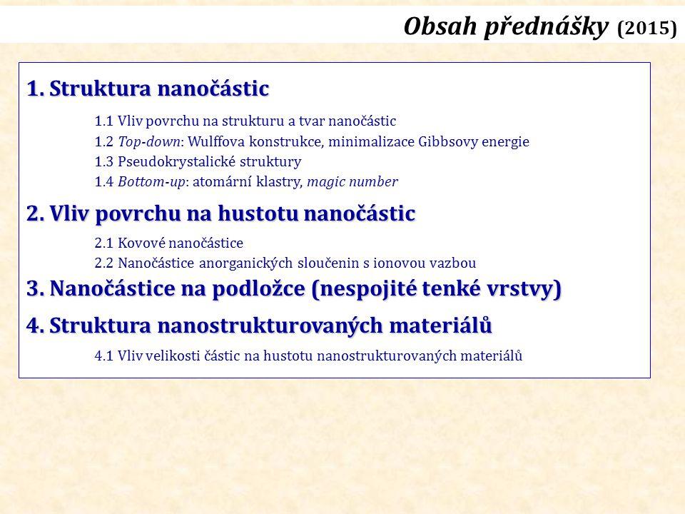 Obsah přednášky (2015) 1. Struktura nanočástic