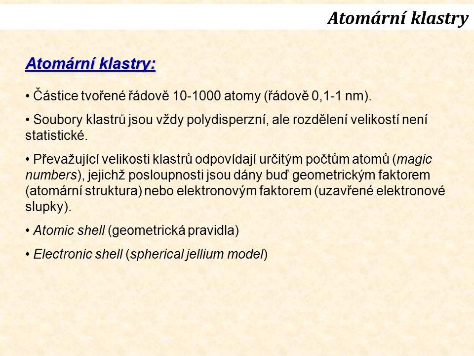 Atomární klastry Atomární klastry: