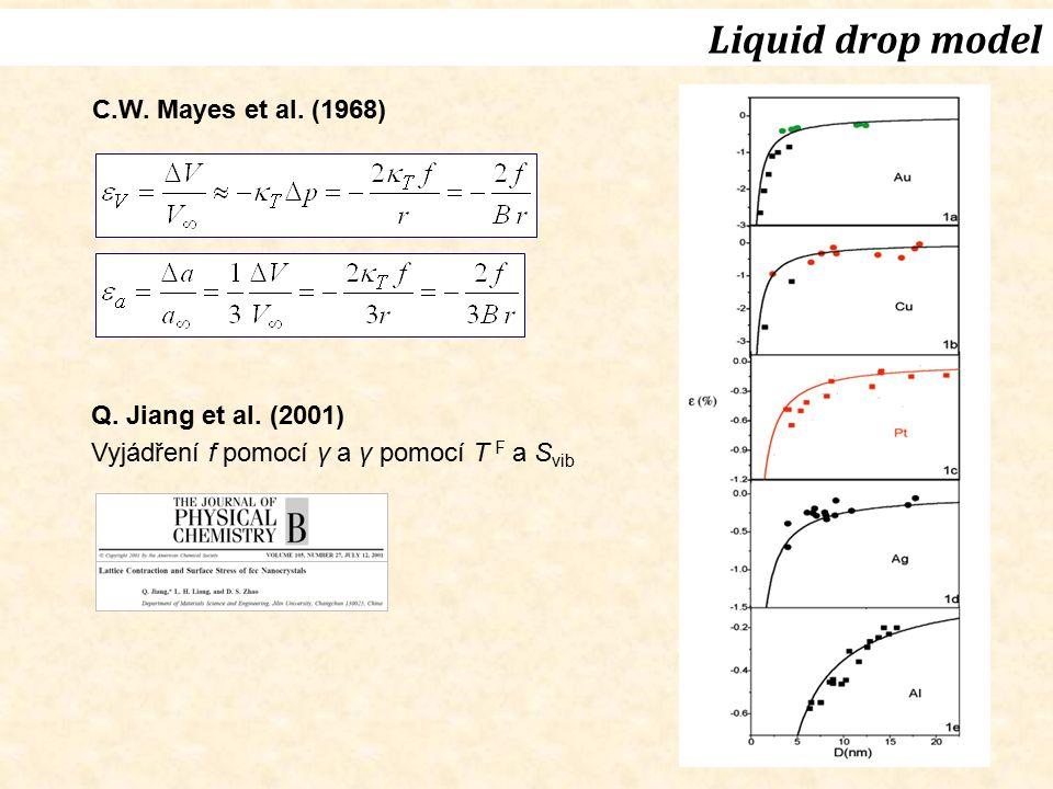Liquid drop model C.W. Mayes et al. (1968) Q. Jiang et al. (2001)