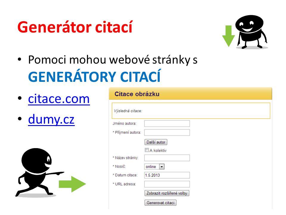 Generátor citací citace.com dumy.cz