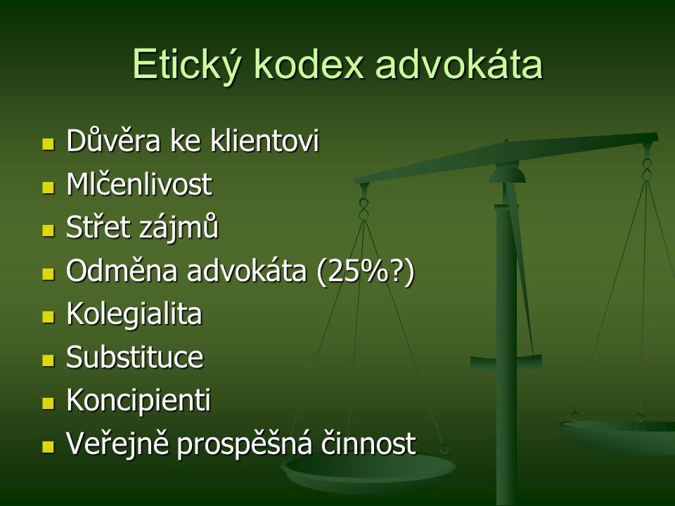 Etický kodex advokáta Důvěra ke klientovi Mlčenlivost Střet zájmů