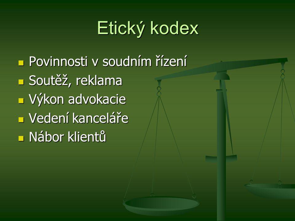Etický kodex Povinnosti v soudním řízení Soutěž, reklama