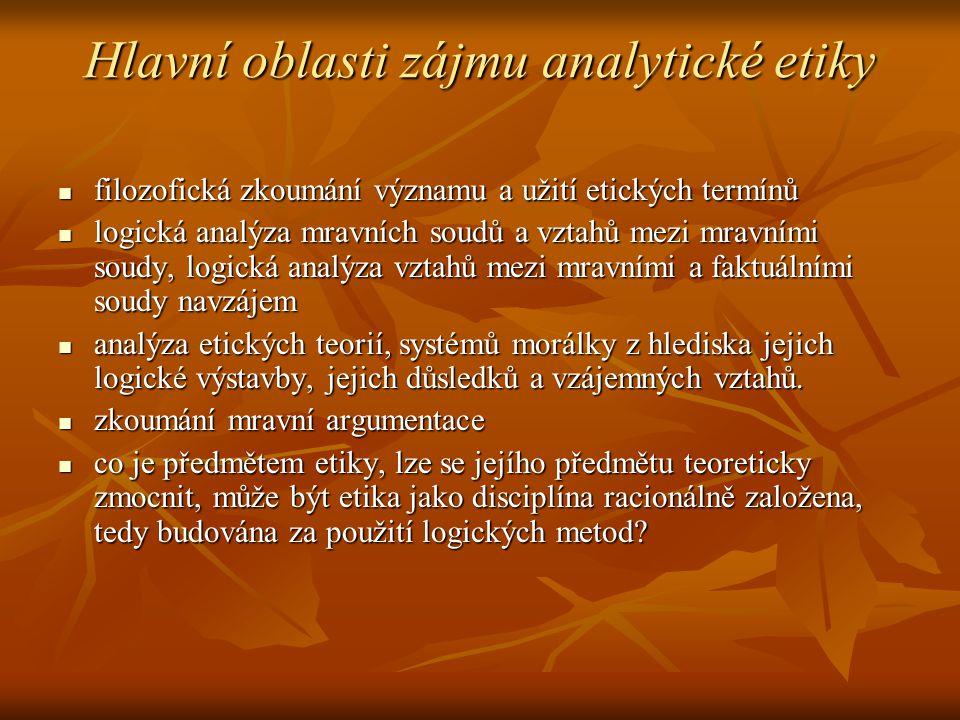 Hlavní oblasti zájmu analytické etiky