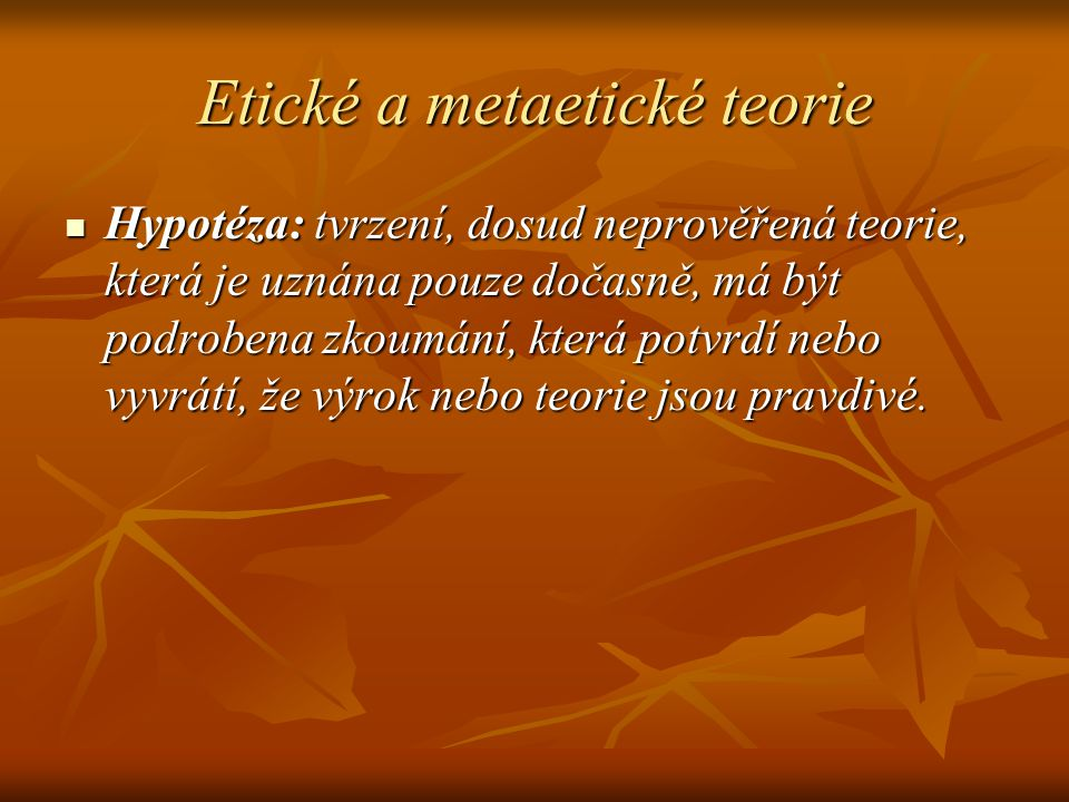 Etické a metaetické teorie