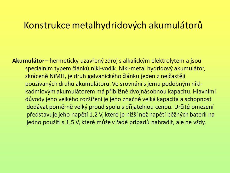 Konstrukce metalhydridových akumulátorů