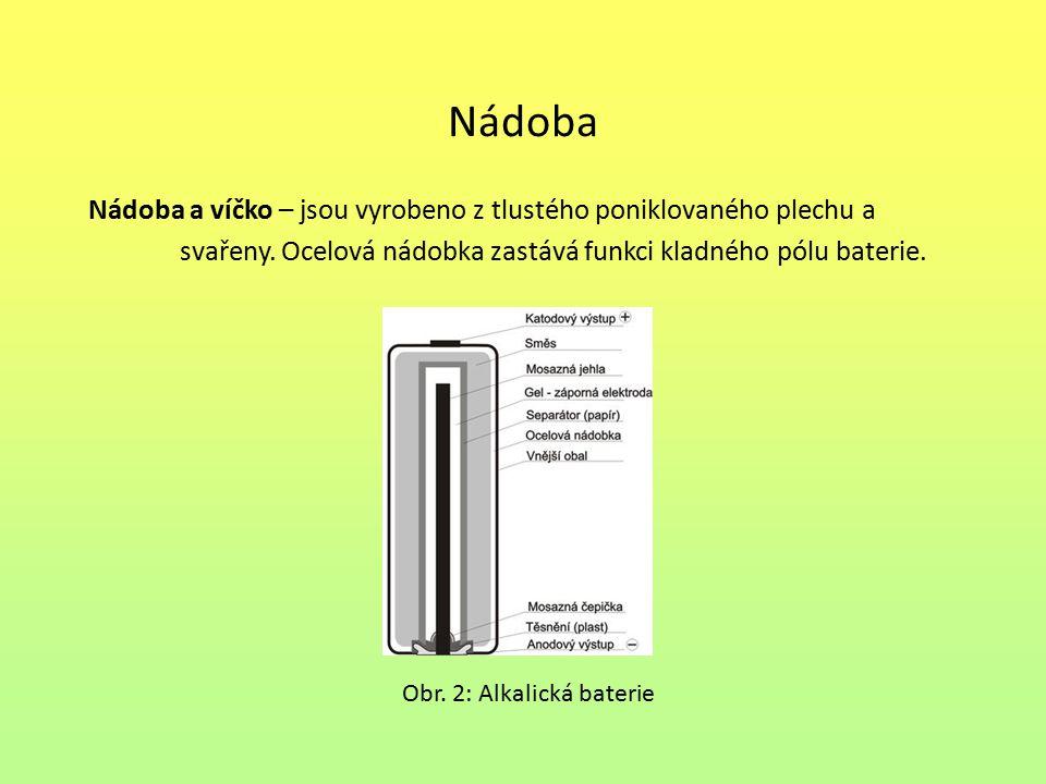 Nádoba Nádoba a víčko – jsou vyrobeno z tlustého poniklovaného plechu a. svařeny. Ocelová nádobka zastává funkci kladného pólu baterie.