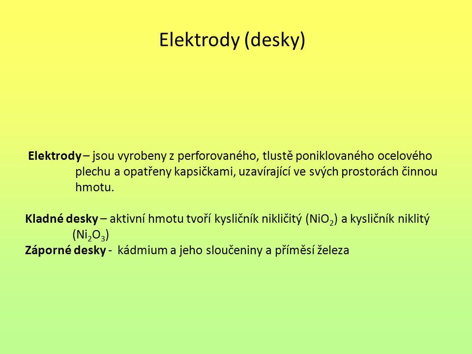 Elektrody (desky) Elektrody – jsou vyrobeny z perforovaného, tlustě poniklovaného ocelového.