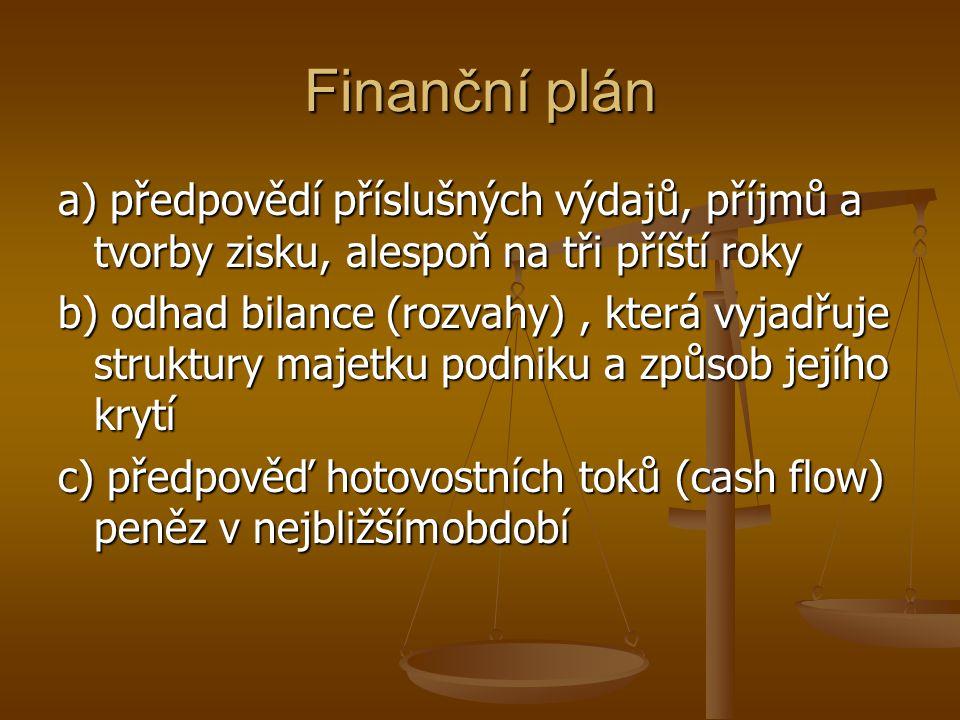 Finanční plán a) předpovědí příslušných výdajů, příjmů a tvorby zisku, alespoň na tři příští roky.