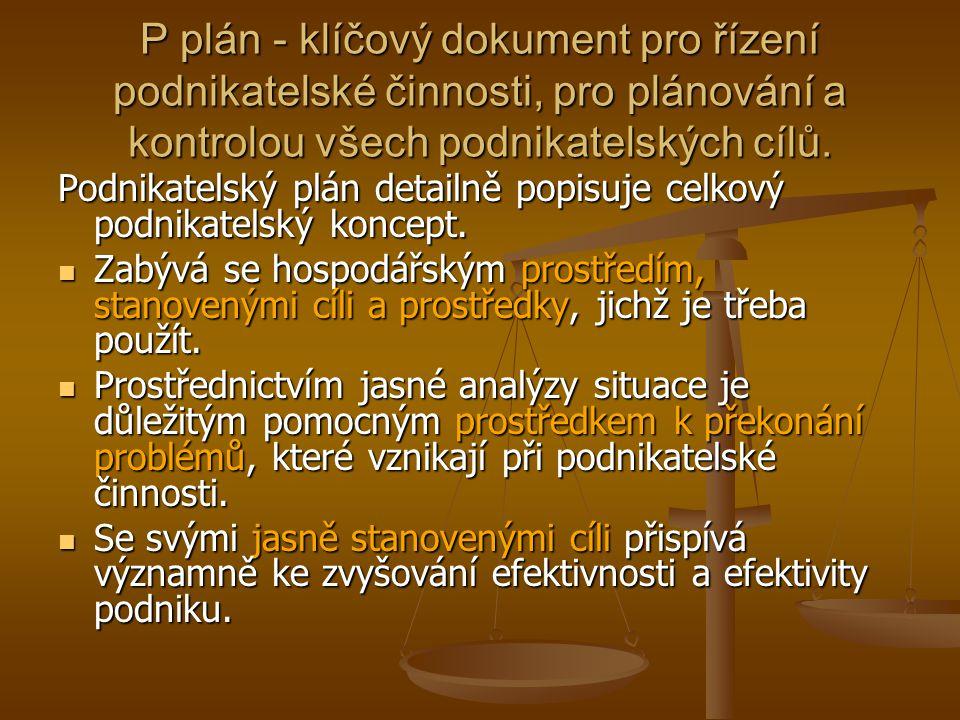 P plán - klíčový dokument pro řízení podnikatelské činnosti, pro plánování a kontrolou všech podnikatelských cílů.