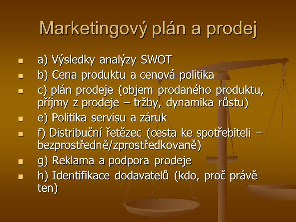 Marketingový plán a prodej