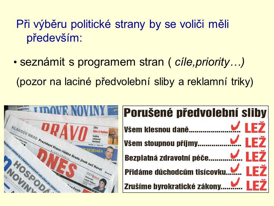 Při výběru politické strany by se voliči měli především: