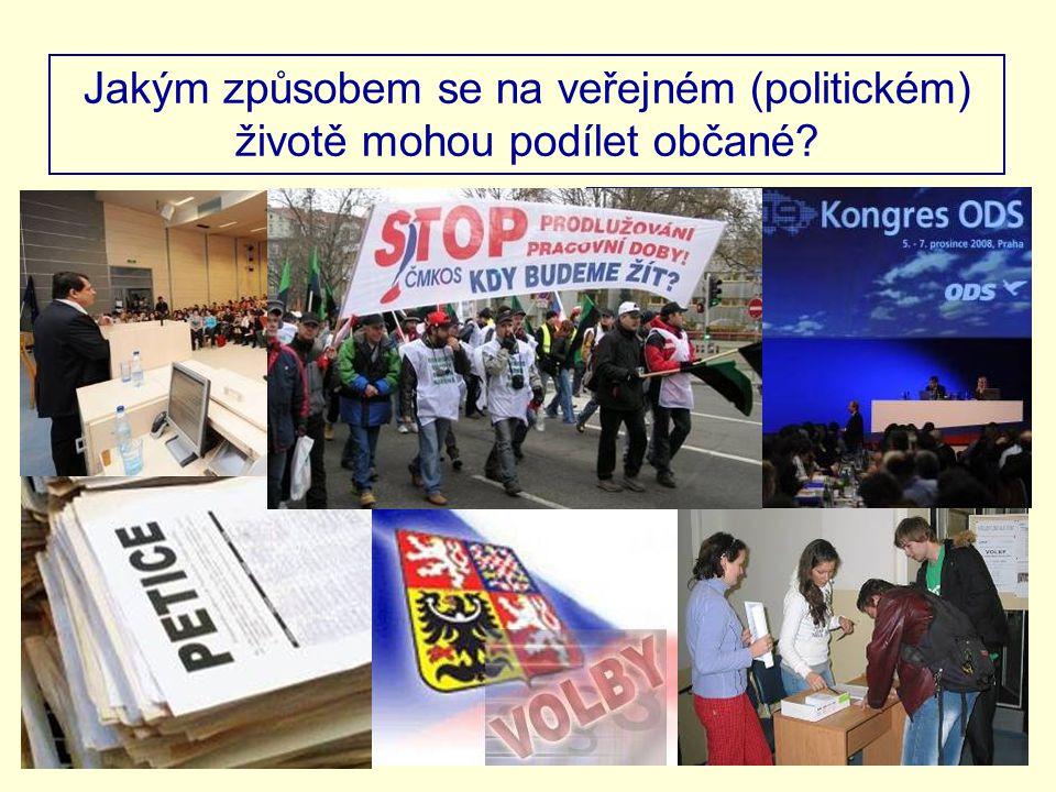 Jakým způsobem se na veřejném (politickém) životě mohou podílet občané