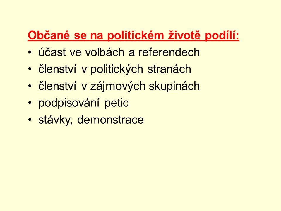 Občané se na politickém životě podílí: