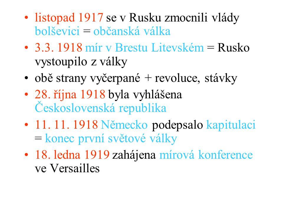listopad 1917 se v Rusku zmocnili vlády bolševici = občanská válka