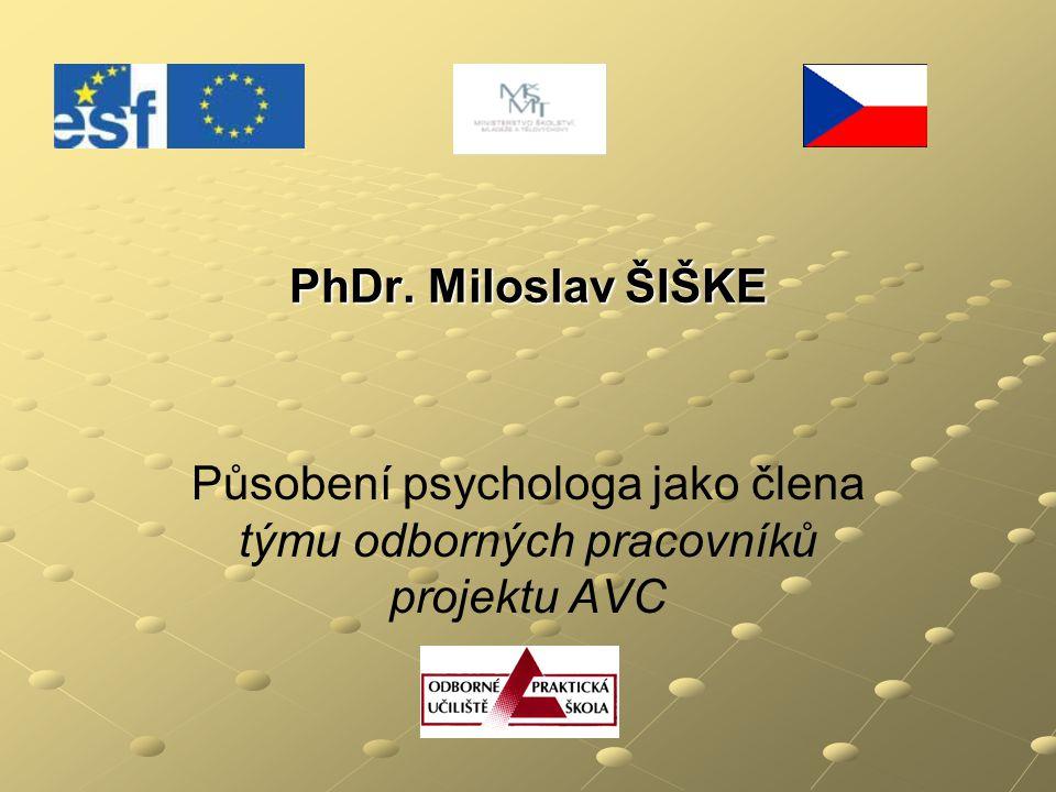 Působení psychologa jako člena týmu odborných pracovníků projektu AVC