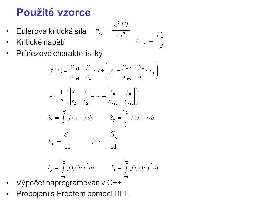 Použité vzorce Eulerova kritická síla Kritické napětí