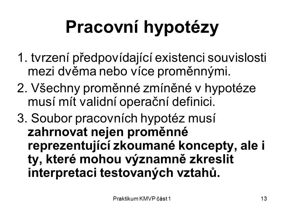 Pracovní hypotézy 1. tvrzení předpovídající existenci souvislosti mezi dvěma nebo více proměnnými.