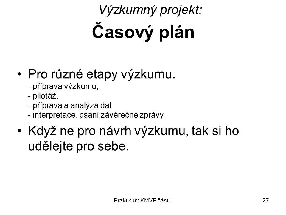 Časový plán Výzkumný projekt:
