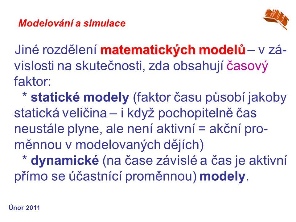 CW05 Modelování a simulace. Jiné rozdělení matematických modelů – v zá- vislosti na skutečnosti, zda obsahují časový faktor: