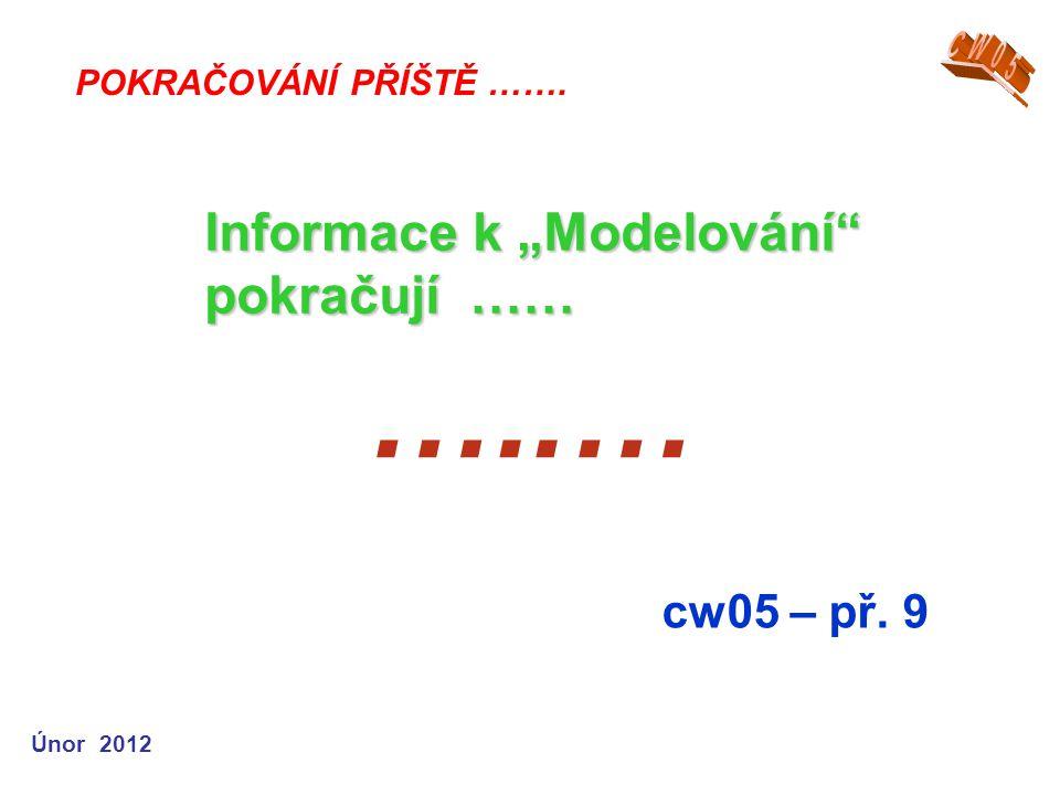 """…..… Informace k """"Modelování pokračují …… cw05 – př. 9 CW05"""
