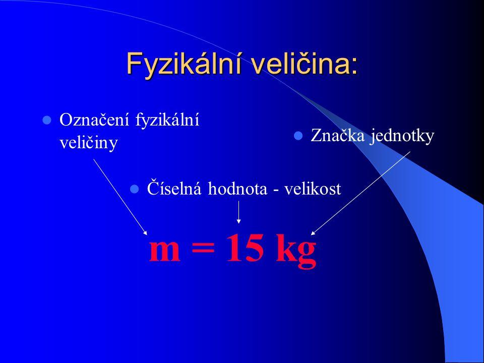 m = 15 kg Fyzikální veličina: Označení fyzikální veličiny