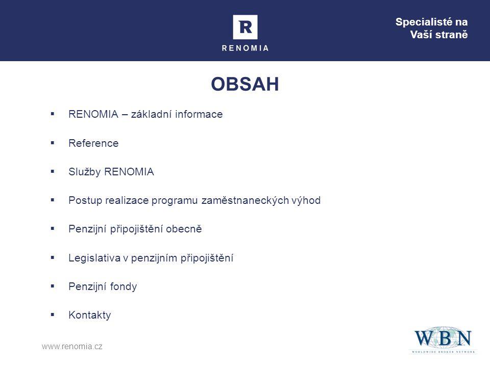 OBSAH RENOMIA – základní informace Reference Služby RENOMIA
