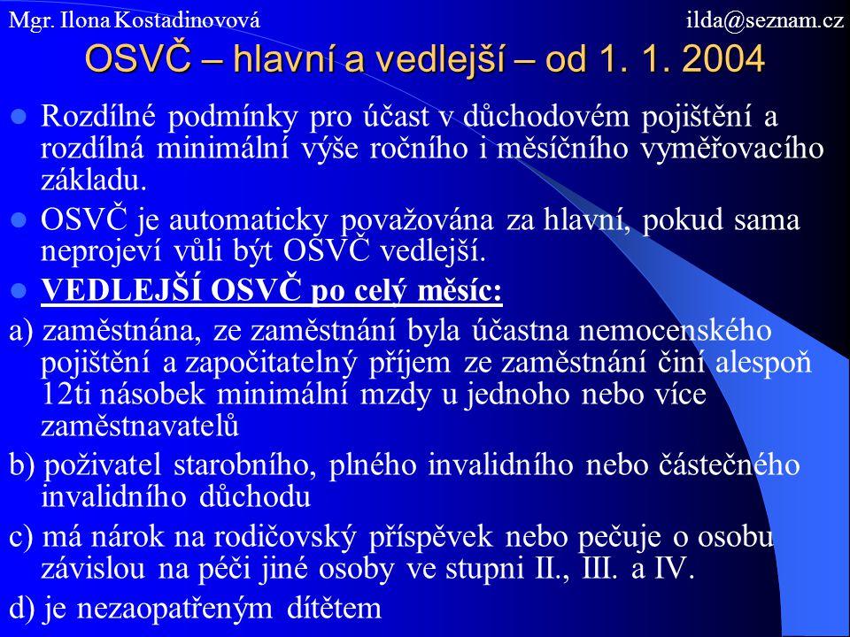 OSVČ – hlavní a vedlejší – od 1. 1. 2004
