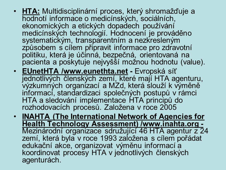 HTA: Multidisciplinární proces, který shromažďuje a hodnotí informace o medicínských, sociálních, ekonomických a etických dopadech používání medicínských technologií. Hodnocení je prováděno systematickým, transparentním a nezkresleným způsobem s cílem připravit informace pro zdravotní politiku, která je účinná, bezpečná, orientovaná na pacienta a poskytuje nejvyšší možnou hodnotu (value).