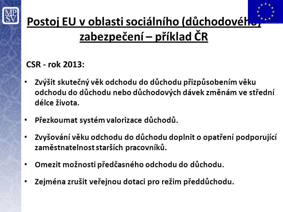 Postoj EU v oblasti sociálního (důchodového) zabezpečení – příklad ČR
