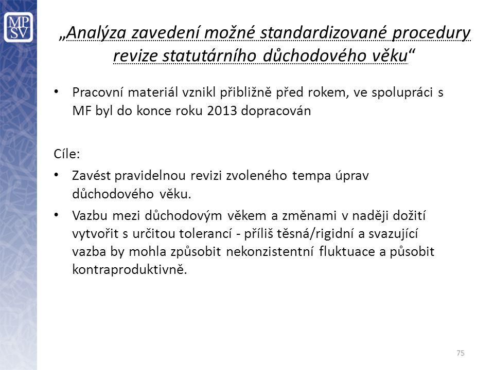 """""""Analýza zavedení možné standardizované procedury revize statutárního důchodového věku"""