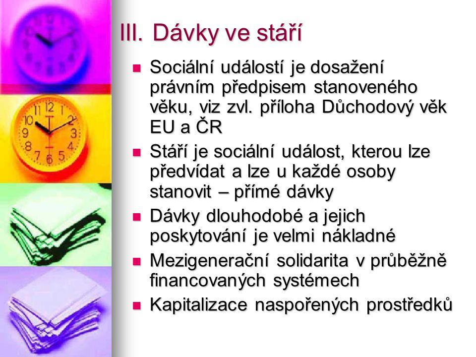 III. Dávky ve stáří Sociální událostí je dosažení právním předpisem stanoveného věku, viz zvl. příloha Důchodový věk EU a ČR.