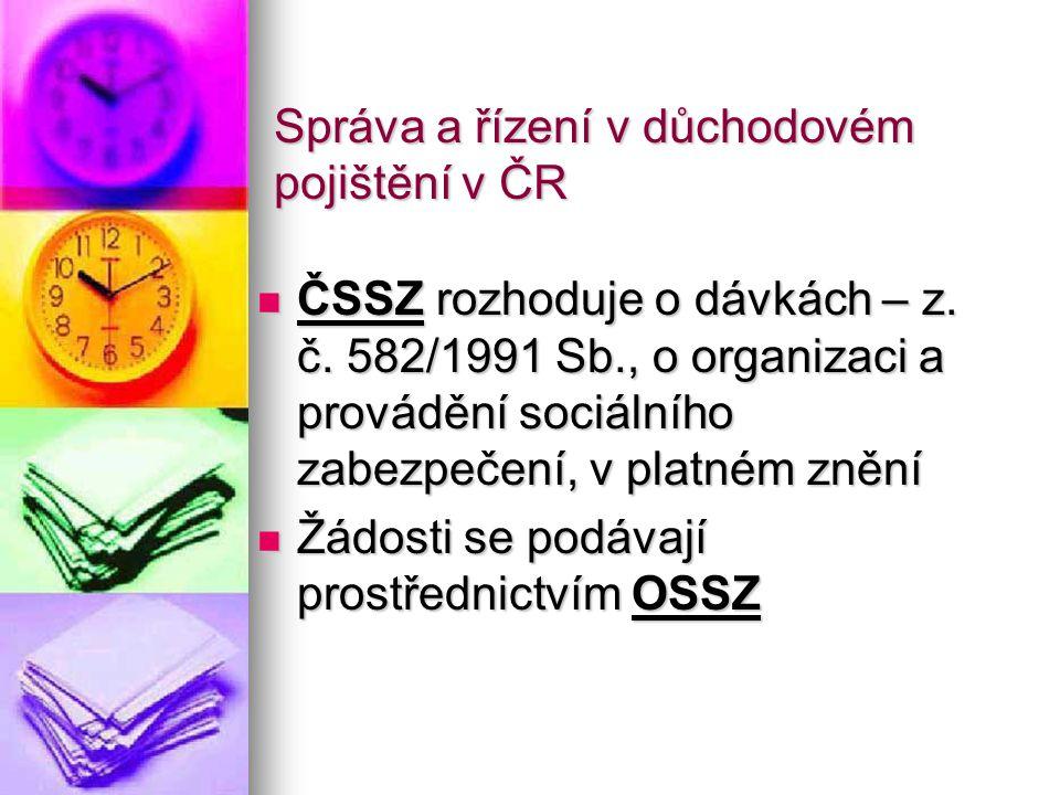 Správa a řízení v důchodovém pojištění v ČR